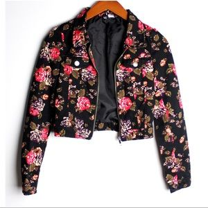 H&M Divided Size 2 Floral Crop Jacket